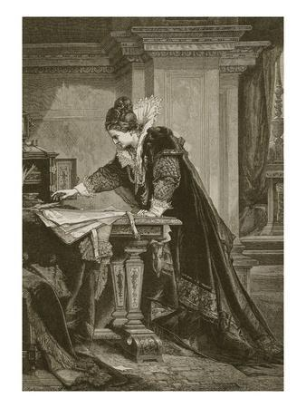 Queen Elizabeth Signing the Death Warrant of Mary Queen of Scots, Engraved by C. Butterworth