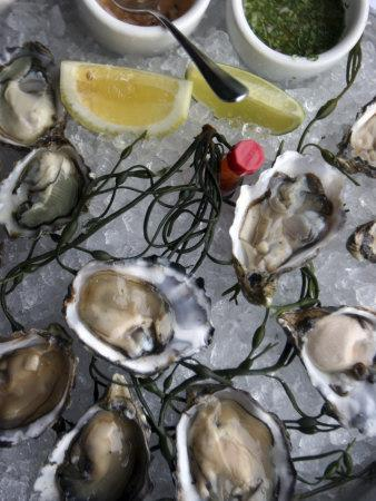Hog Island Oysters on a Plate with Dips, San Francisco, California