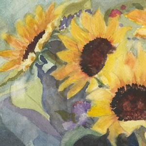 Sunflowers in Watercolor I by Sandra Iafrate