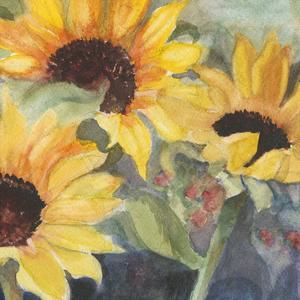 Sunflowers in Watercolor II by Sandra Iafrate