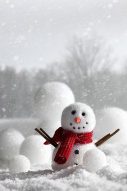 Snowman with Winter Snow Background by Sandralise