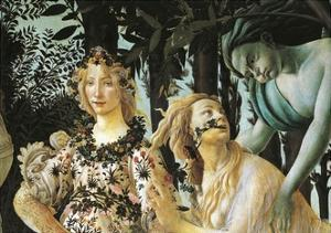 Flora, Nymph Cloris and Zephyr, Detail of Allegory of Spring by Sandro Botticelli