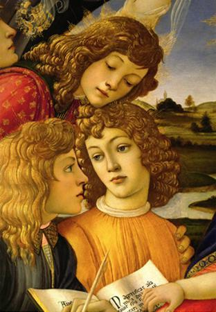 Four angels. Detail from the Coronation of the Madonna and Child (Madonna of the Magnificat). by Sandro Botticelli