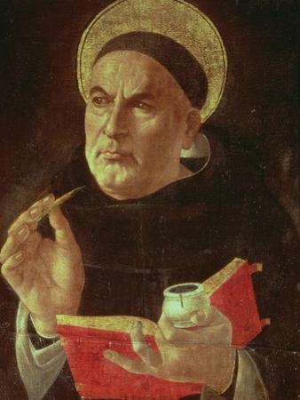 St.Thomas Aquinas (Oil on Panel) by Sandro Botticelli