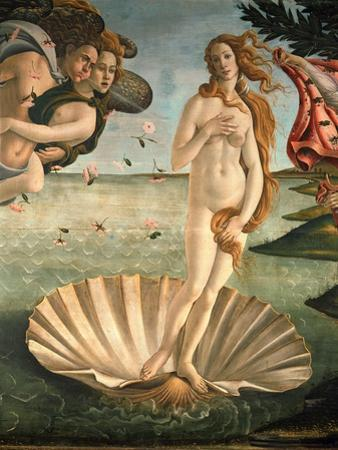 The Birth of Venus, 1478. Detail of the Birth of Venus in scallop shell. by Sandro Botticelli