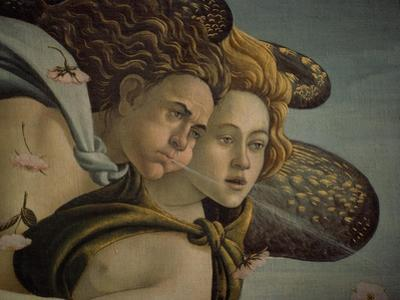 The Birth of Venus detail of the two breezes, 1478. by Sandro Botticelli