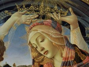 The Madonna of the Magnificat, Detail of the Virgin's Face and Crown, 1482 by Sandro Botticelli