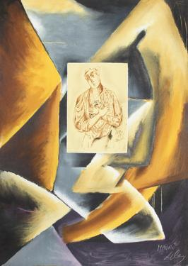 Cubist Abstract with Portrait by Sandro Chia