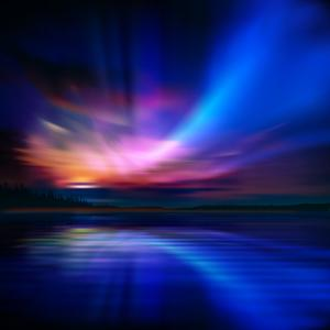 Abstract Nature Background with Aurora Borealis and Forest by Santa