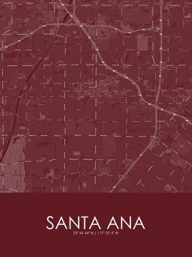 Santa Ana, United States of America Red Map