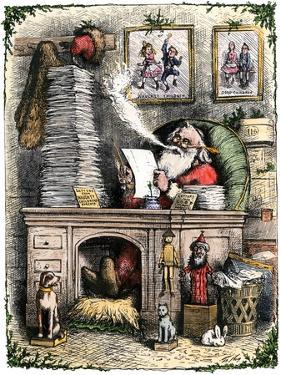 Santa Claus Opening a Stack of Letters, 1880s