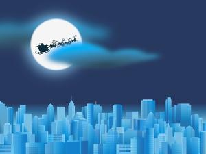 Santa Clause Flying Over City
