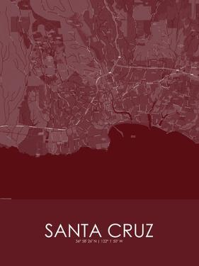 Santa Cruz, United States of America Red Map
