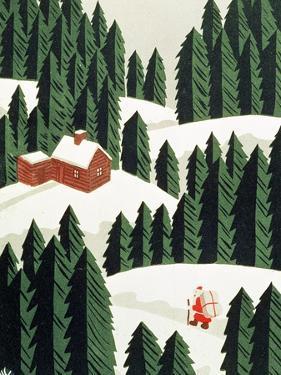 Santa Delivering Presents, Christmas Card
