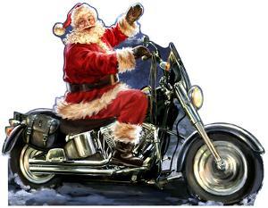 Santa Motorcycle - Dona Gelsinger Art Lifesize Cardboard Cutout