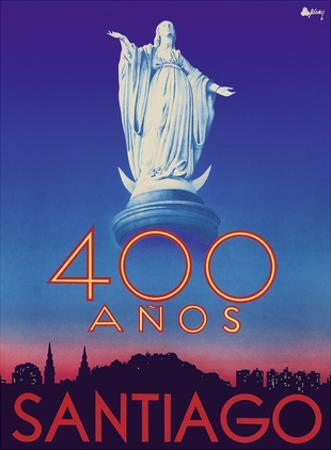 Santiago, Chile - 400 Anos (400 Years) Anniversary - Virgin Mary Statue, San Cristobal Hill