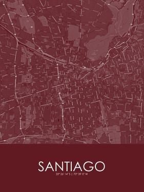 Santiago, Chile Red Map