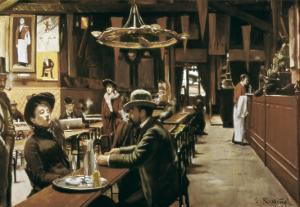 Café at Montmartre by Santiago Rusinol