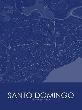 Santo Domingo, Dominican Republic Blue Map