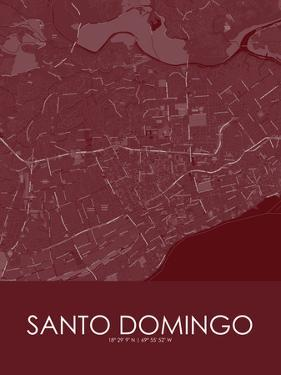 Santo Domingo, Dominican Republic Red Map