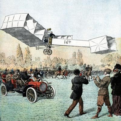 Santos-Dumont Making the First Powered Plane Flight in Europe, Paris, 1906