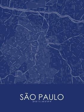 Sao Paulo, Brazil Blue Map