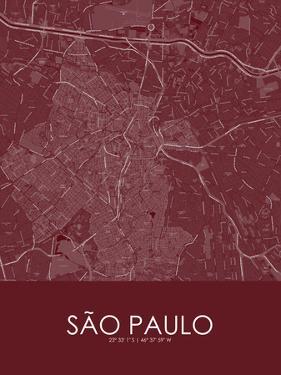 Sao Paulo, Brazil Red Map