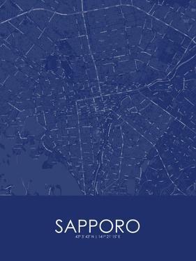 Sapporo, Japan Blue Map