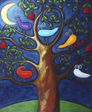 Moon over Lovebirds Family by Sara Catena