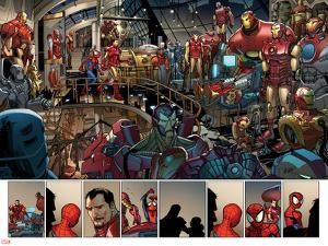 Ultimate Spider-Man No.153: Panels with Spider-Man and Iron Man by Sara Pichelli