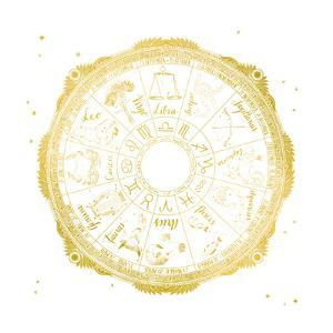 Night Sky Zodiac White and Gold by Sara Zieve Miller