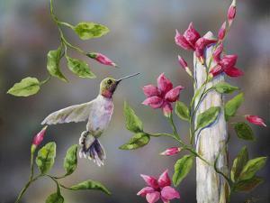 Hummingbird with Flowers by Sarah Davis