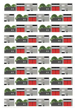 Fire Station Repeat Print by Sarah Evans