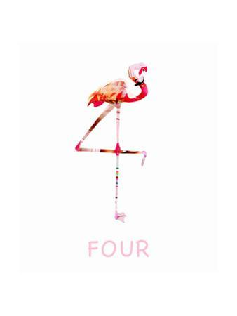 Pink Flamingo Standing Against White Background by Sarah Jackson