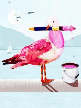 Seagull Covered with Pink Paint Holding Paintbrush by Sarah Jackson