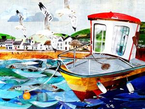 Seagulls Flying Above Boat by Sarah Jackson