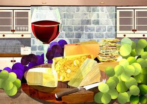 Still Life with Cheese, Grapes and Red Wine by Sarah Jackson