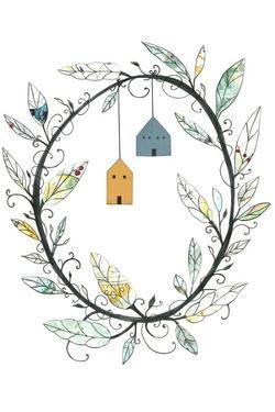 Bird Houses and Wreath by Sarah Ogren