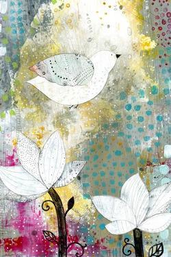 Bird with Lotus Flowers by Sarah Ogren
