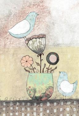 Birds Together - Floral by Sarah Ogren