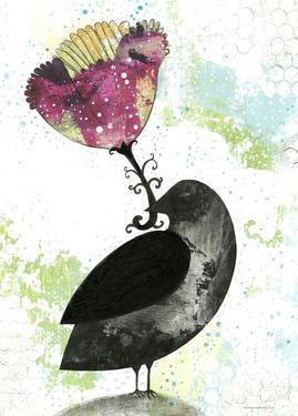 Folk Crow with Flower by Sarah Ogren