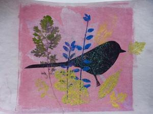 Birdy on pink by Sarah Thompson-Engels