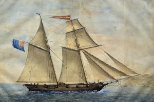 Sardinian Barquentine Cristina, 1829, Watercolour by Pittalunga, Italy, 19th Century