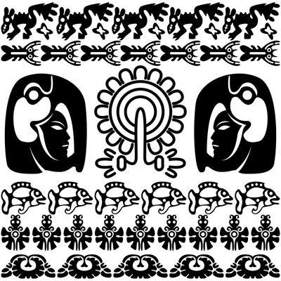 Ancient American Pattern On White