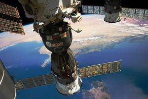 Satellite in space with view of Italy and Africa on Earth