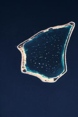 Satellite view of a group of islands in the South Pacific Ocean, Cook Islands