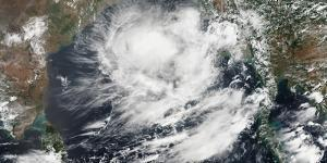 Satellite View of a Tropical Cyclone in the Bay of Bengal
