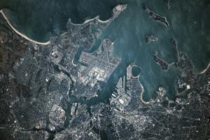 Satellite view of Boston, Massachusetts, USA