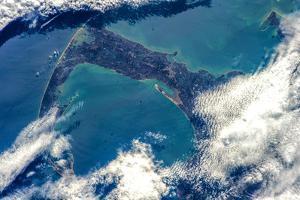 Satellite view of Cape Cod National Seashore area in North Atlantic Ocean, Massachusetts, USA