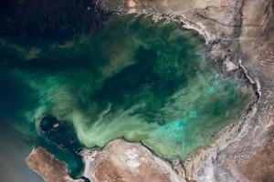 Satellite view of Caspian Sea and Coastal Area, Kazakhstan